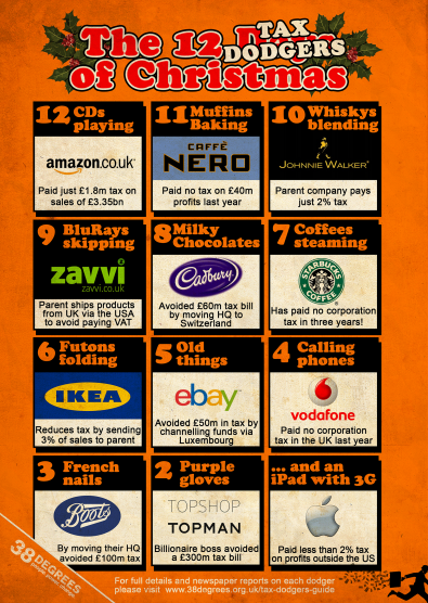 The 12 Tax Dodgers of Christmas