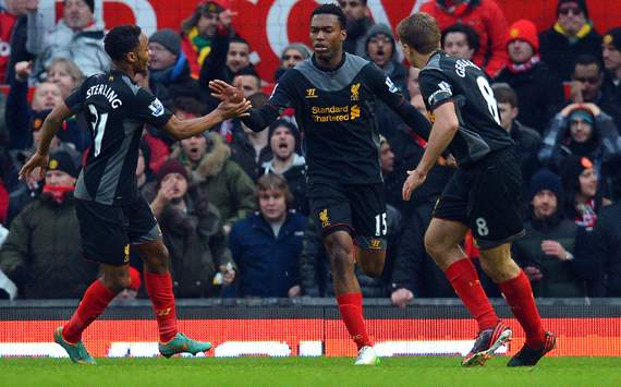 Daniel Sturridge scores for Liverpool against Manchester United