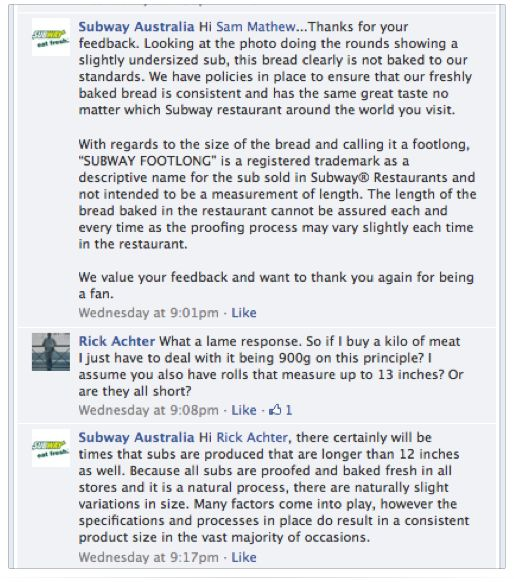 Subway Facebook page